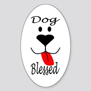 Dog Blessed Oval Sticker