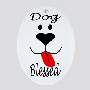 Dog Blessed Oval Ornament