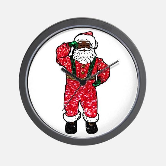 glitter black santa claus Wall Clock