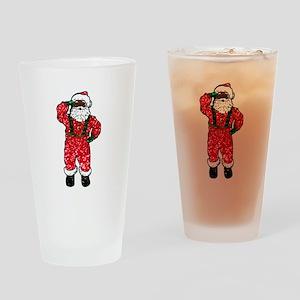 glitter black santa claus Drinking Glass