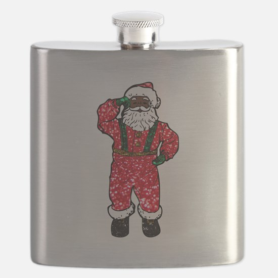 glitter black santa claus Flask