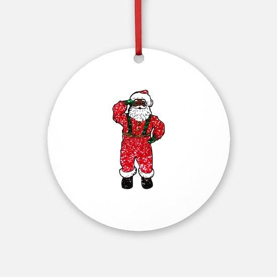 glitter black santa claus Round Ornament