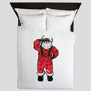 glitter black santa claus Queen Duvet