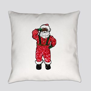 glitter black santa claus Everyday Pillow