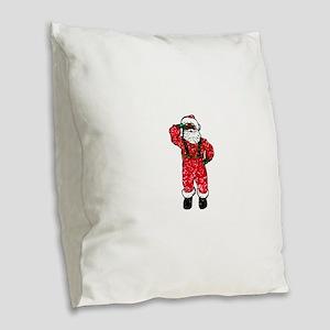 glitter black santa claus Burlap Throw Pillow