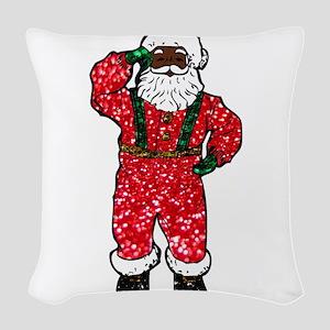 glitter black santa claus Woven Throw Pillow