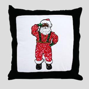 glitter black santa claus Throw Pillow