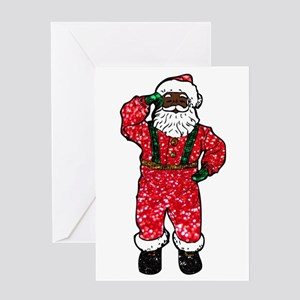 glitter black santa claus greeting cards