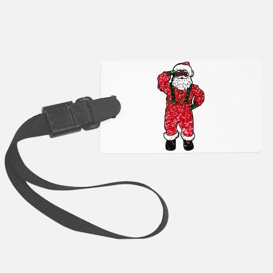 glitter black santa claus Large Luggage Tag