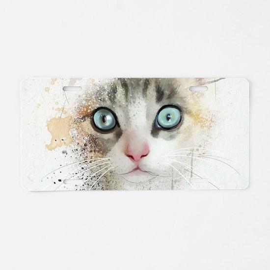 Kitten Painting Aluminum License Plate
