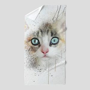 Kitten Painting Beach Towel
