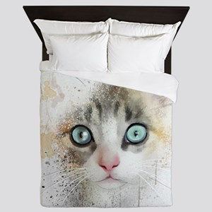 Kitten Painting Queen Duvet