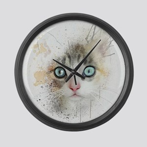Kitten Painting Large Wall Clock