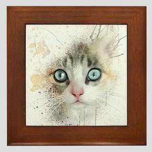 Kitten Painting Framed Tile