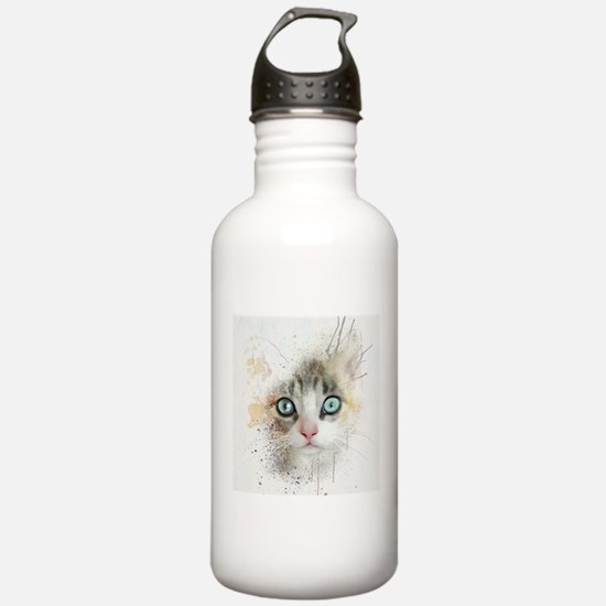 Kitten Painting Water Bottle