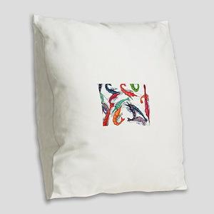 shrimp party Burlap Throw Pillow