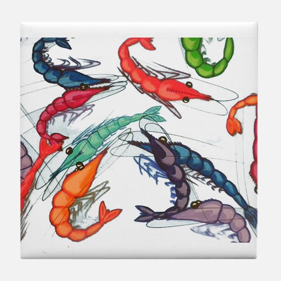 shrimp party Tile Coaster