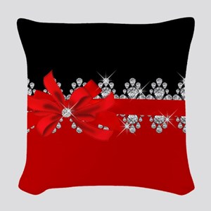 Diamond Delilah (Red) Woven Throw Pillow