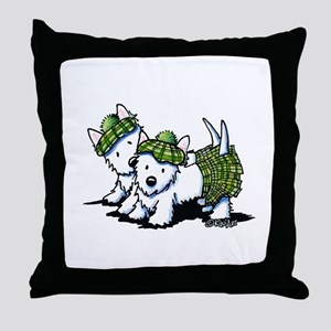 KiniArt Westie Kilted Duo Throw Pillow