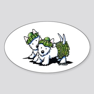 KiniArt Westie Kilted Duo Sticker (Oval)