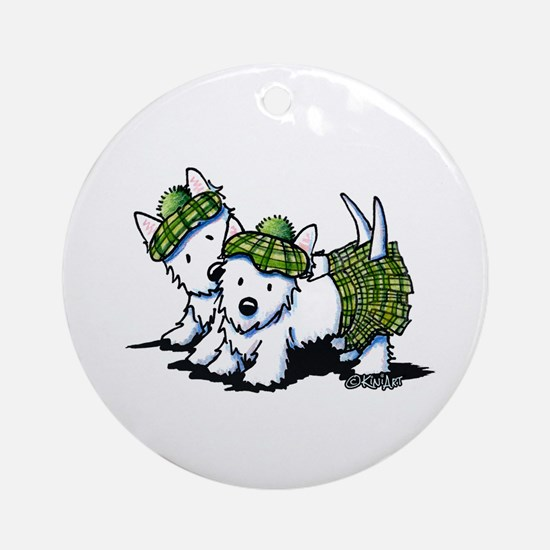 KiniArt Westie Kilted Duo Round Ornament