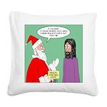 Santas Bad Advice Square Canvas Pillow