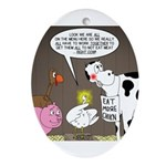 Farm Animal Menu Issues Oval Ornament