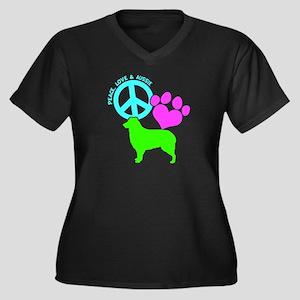 P,L, AUSSIE Women's Plus Size V-Neck Dark T-Shirt