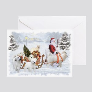 Great Pyrenees And Santa Greeting Cards (pk Of 20)