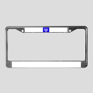 Blue Menorah OMG Hanukkah 4 Ha License Plate Frame