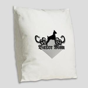 Boxer Mom Burlap Throw Pillow