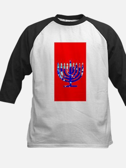 Red Vibrant Menorah Hanukkah Jason Baseball Jersey