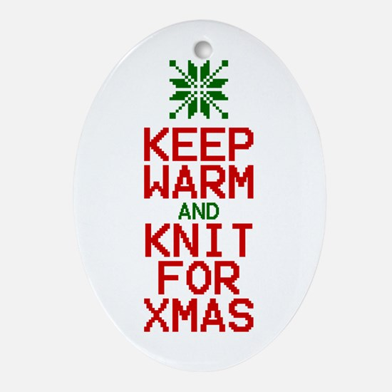 Keep Warm and Knit for Xmas Oval Ornament