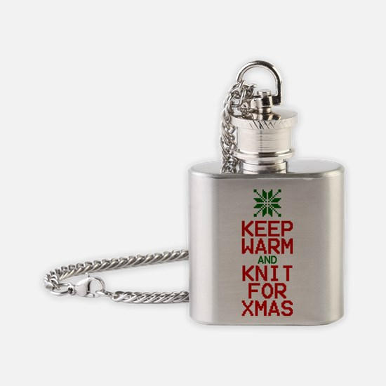 Keep Warm and Knit for Xmas Flask Necklace