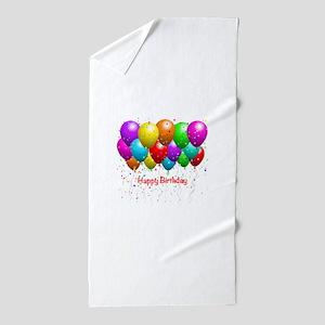Happy Birthday Balloons Beach Towel