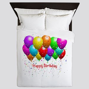 Happy Birthday Balloons Queen Duvet
