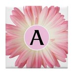 Personalize Pink Daisy Tile Coaster