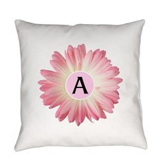 Personalize Pink Daisy Everyday Pillow