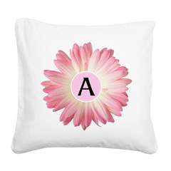 Personalize Pink Daisy Square Canvas Pillow
