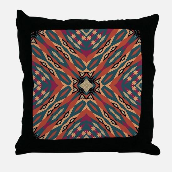 Aztec Pattern Earthy Warm tones Throw Pillow