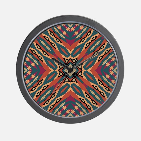 Aztec Pattern Earthy Warm tones Wall Clock