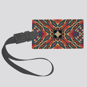 Aztec Pattern Earthy Warm tones Large Luggage Tag