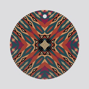 Aztec Pattern Earthy Warm tones Round Ornament