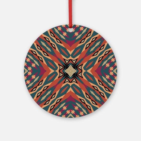 Aztec Pattern Earthy Warm tones Round Ornament