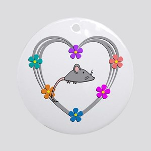 Mouse Heart Round Ornament
