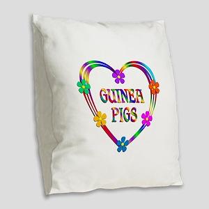 Guinea Pig Heart Burlap Throw Pillow