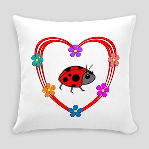 Ladybug Heart Everyday Pillow