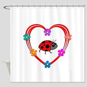 Ladybug Heart Shower Curtain