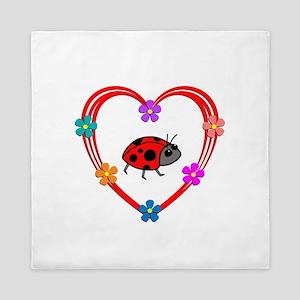 Ladybug Heart Queen Duvet