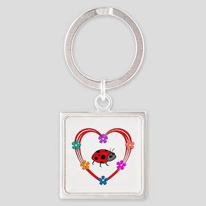 Ladybug Heart Square Keychain